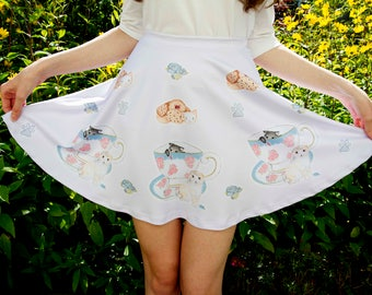 Kawaii Cat Cafe Skirt ~ Lolita, Pastel, Cute