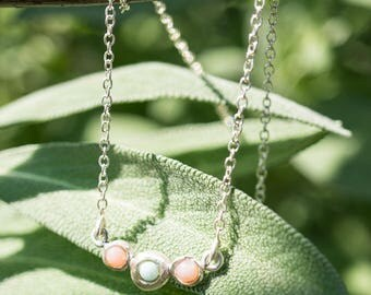 Collier with pink opal and larimar