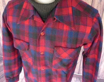 PENDLETON High Grade Western Wear PLAID Check WOOL Button-Up Shirt M Vintage