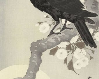 "Japanese Art Print ""Crow and Full Moon"" by Ohara Koson, woodblock print reproduction, fine art, asian art, cultural art, cherry blossoms"