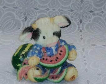Enesco Udderly Refreshing Mary Rhyner Farm Cow Watermelon Figurine 1994 Moo Moo Cows #528MM736  (2)