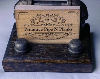 Business Card Holder/Business Card Display/Card holder/Card display/rustic display/pipe and wood display