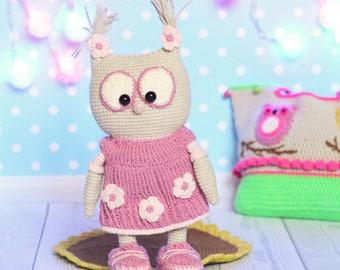 Crochet Owl Barn Owl Amigurumi Owl Baby Owl Owl Girl Crochet Animals Dressed Stuffed Owl Stuffed Toy Plush Owl Soft Owl Cuddly Owl Eco Toys