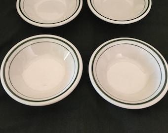 Lot of 4 Buffalo China Side Dish Bowl Green Stripe Restaurant Ware
