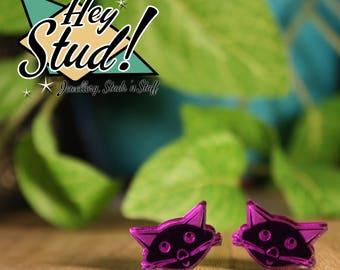 Kitty Cat Stud Earrings - Purple Mirror Acrylic