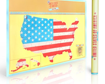 Scratch off US map, Mark your travels and Vacations Around United States,