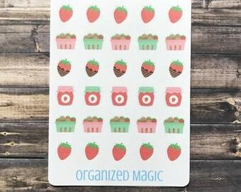 Strawberry planner stickers, summer stickers, fruit stickers