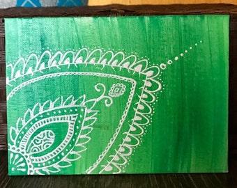 "Indian Mehndi// Henna Decor// Green Mehndi Painting// boho chic// 5X7"""