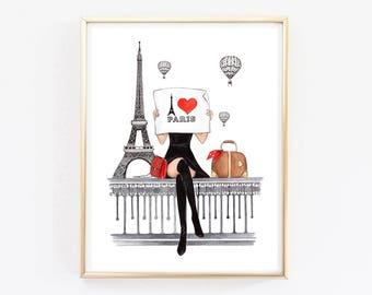 Paris Print Paris Art Print Paris Wall Art Paris Wall Decor Fashion Wall  Decor Fashion Illustration