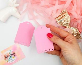 Set of 10 25 50 Scalloped Rectangular Rose Pink Cardstock Blank Tags Hang Tags Item Labels Gift Tag Die Cut DIY Embellishment Scrapbooking