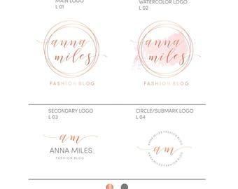 Photography Logos and Watermarks, Rose Gold logo, Wedding logo design, Branding Kit, Premade branding package, Calligraphy logo premade, 010