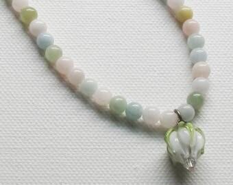 Sweet Aquamarine and Glass rosebud Necklace