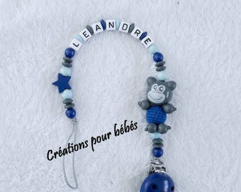 """Boy personalized 3D """"Monkey"""" with wooden beads pacifier clip"""