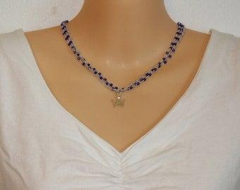 Blue Butterfly Necklace 3 strand