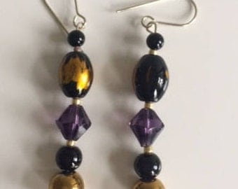 Black, gold and purple dangle drop earrings, jewellery