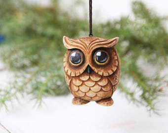 Owl Lover Gift Carved Owl Ornament Christmas Tree Toy Owl Gift Wood Carving Christmas Owl Wooden Owl Figurine Woodcarving Bird Ornaments