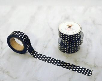 Black Gold Foil Polka Dot Washi Tape