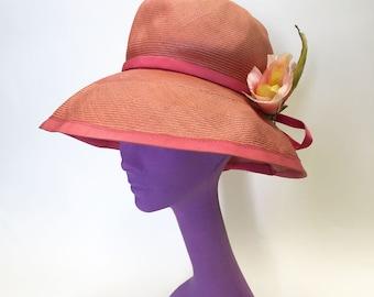 Vintage Frank Olive pink straw wide brim hat 1960s