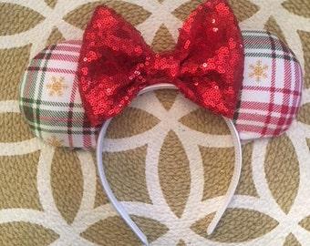 Christmas Minnie Ears, Minnie Mouse Ears, Mickey Mouse Ears, Minnie Ears, Mickey Ears, Disney Ears, Christmas Mickey Ears, Disney Christmas
