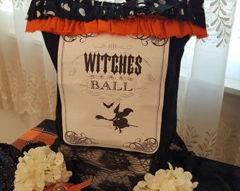 Shabby Chic Halloween Purse Shopping Bag - Black Witches Ball