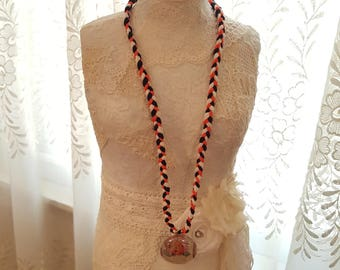Vintage Halloween Necklace - Pumpkin Head Halloween Greetings