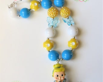Princess Cinderella Chunky Bubblegum Necklace, Chunky Bead Necklace, Girls Jewelry, Little Girl Chunky Necklace, Bubblegum Necklace