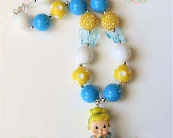 Princess Cinderella Chunky Bubblegum Necklace, Chunky Bead Necklace, Girls Jewelry, Little Girl Chunky Necklace, Bubblegum Necklace