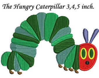 The Hungry Caterpillar Embroidery Design - 3,4,5 inch size Caterpillar Embroidery instant download