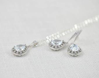Silver Cubic Zirconia Crystal Bridal Jewellery Set, Bridal Earrings Bridal Necklace Jewellery Set, Bridesmaids Silver Teardrop Wedding Set