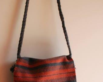 Woven bag, vintage woven bag, ethnic woven bag, vintage tote bag, woven tote bag, boho bag, haversack, woven wool bag, handmade woven bag
