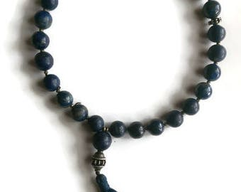 Tibetan Buddhist lapis and silver hand mala (example)