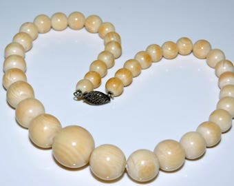 Beautiful Antique Bovine Bone Bead Necklace Sterling Silver Clasp