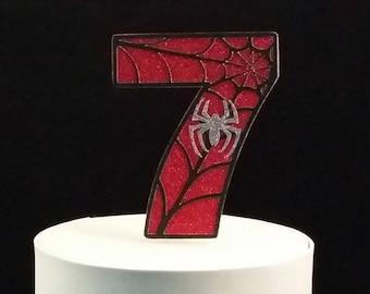 Spider-Man 7 / 7th Birthday Cake Topper - Spiderman / Spider Man / Super Hero / Boy's Party Supplies and Decorations