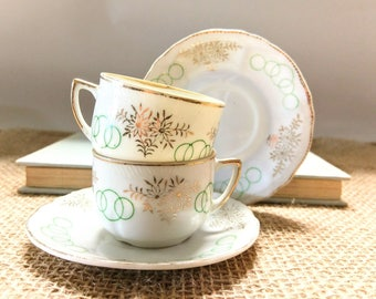 Vintage Mid Century Satsuma Tea Cups with Saucers, Made in Japan