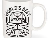 World's Best Cat Dad Mug - Great Father's Day Gift and Gift for Cat Lovers - Black Print