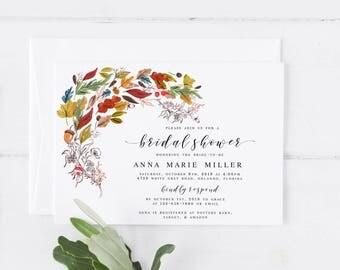Fall Bridal Shower Invitation Template Autumn Bridal Shower Invitation Template Autumn Fall Wedding Invitation Template