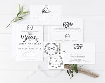 Modern Wedding Invitation Template Editable Wedding Invitation Set Printable Wedding Invitation Set Modern Calligraphy Wedding Invitation