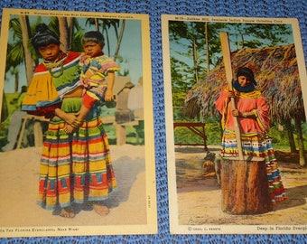 Vintage Florida Postcards, Vintage Postcards of Florida Seminole Indians, Vintage Seminole Indian Florida Postcards