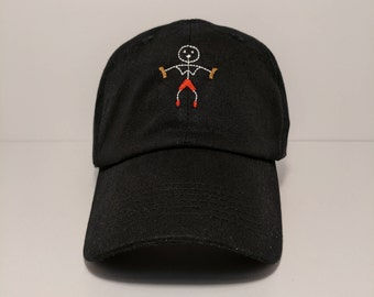 Stick Figure Embroidered Unstructured 100% Cotton Polo Adjustable Baseball Dad Hat