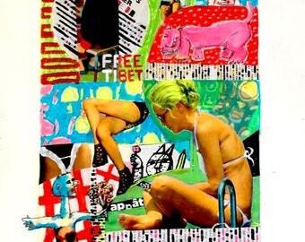 Illustration / Affiche unique, collage, techniques mixtes, design - Do you like my flowers, Sharon?