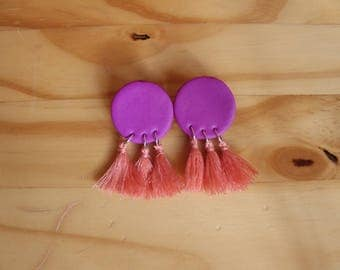 Fuschia and peach triple tassel fimo earrings