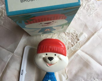 NIB Vintage Avon Arch E Bear Brush and Comb Set