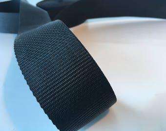 """5m Black polypropylene Webbing 50mm/2"""" wide, bag strap, bag handle, closure strap"""