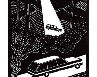 Mountain driving linoleum print