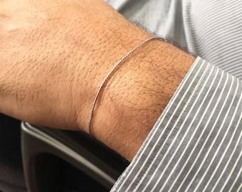 Mens Simple Bracelet Gray Bracelet Mens Clasp Bracelet Gold filled Bracelet Silk Bracelet String Bracelet Gray Cord Bracelet Mens Jewelry