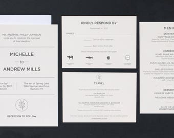 Modern wedding invitation template | printable wedding invitation, rsvp and details cards and menu | Print at-home or commercially