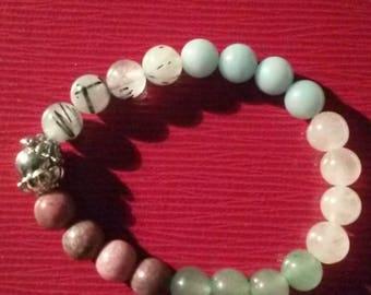 """Bracelet 5 natural stones """"amour"""" 18cm"""