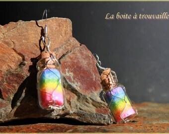 """Rainbow"" colored salt earrings"