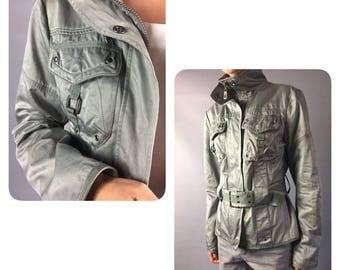 Metallic jacket 1990's Vintage jacket Small Silver jacket Windproof 90's jacket Womens blazer Trench Glitter jacket Shiny blazer Fall jacket