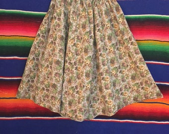 70s Lavender Rose Prairie Floral Calico Cotton Summer Midi Skirt Size XS / Small